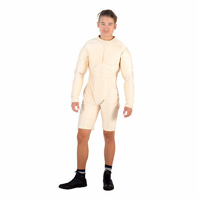 Adult Men's Gym Body Builder Superhero Deluxe Nude White Muscle Suit Costume