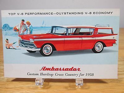 AMC Ambassader 1958 American Motors Cross Country Station Wagon Vintage Postcard