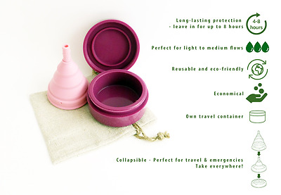 Menstrual cup | Reusable | Collapsible |100% medical silicone |Travel case & bag