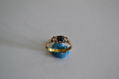 Vintage 9Ct Gold Square Cut Saphire & Spinel Ring Ladies Size S Hallmarked