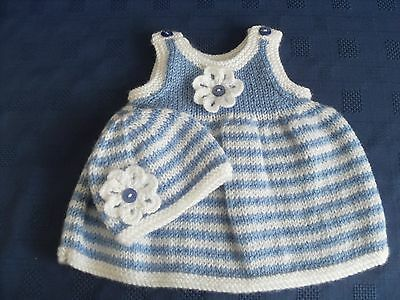 Hand knitted premature baby dress and hat set in blue and white