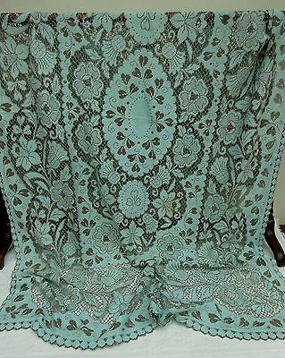 Tablecloth Nottingham Lace Blue Brown Scottish Thistle Vintage Antique Country