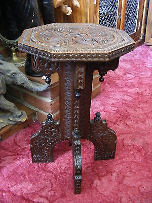 Antique Vintage Victorian Style Handmade Carved Wooden Side Table Stand Stool