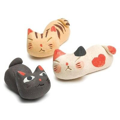 Sleeping Kitty Chopstick Rests Stoneware Cats - Set Of 3 - Knife Spoon Holder