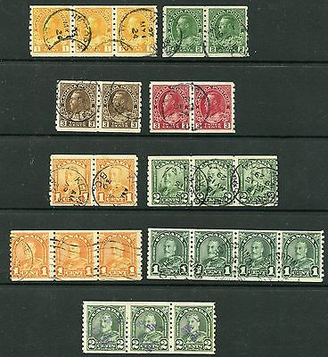 Weeda Canada 126d//180 F-VF used coil pairs & strips, scarce multiples CV $190+
