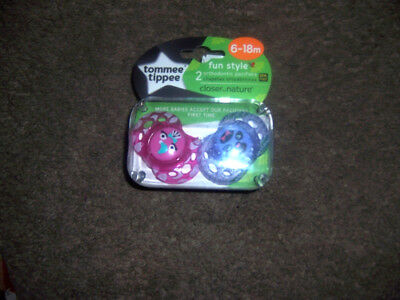 6-18 months size tommee tippee fun style pink purple   new  pacifier