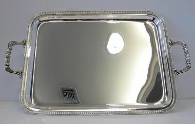 Italian 925 Sterling Silver Empire Border Rectangular Tray With Handles 01059-4