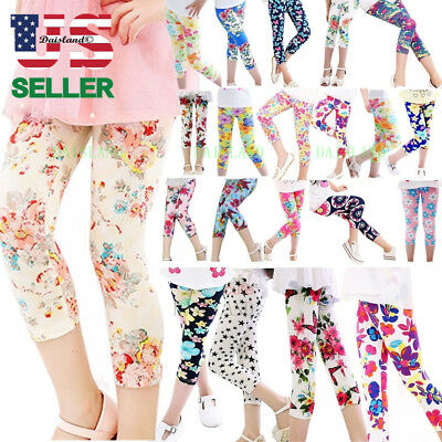 8 Styles Kids Girl Baby Leggings Floral Printed Pants Flower Trousers 4-12Y Hot