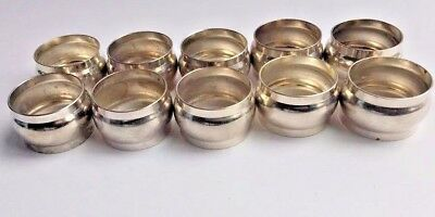 Vintage Silver Plated Napkin Rings Set of 12 Solid Brass