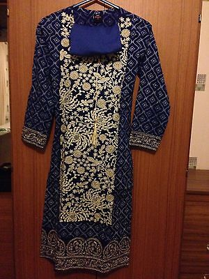 New Ladies Asian Blue Patterned Size Small Cotton Material Salwar Kameez