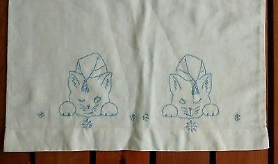 Vintage Cotton Kitten Cat Embroidered Baby or Doll Pillowcase
