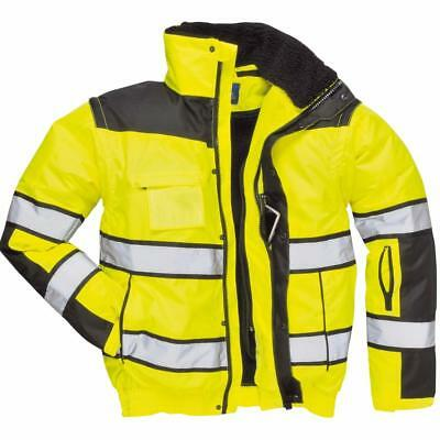 Portwest Hi-Vis Classic Bomber Jacket Yellow/Black UC466