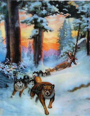 Sled Dogs Cabin The Winter Trail R Atkinson Fox vintage art