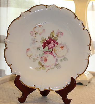 "Antique Rose Vintage Plate  Bavaria Schumann Golden Crown  11 1/2"" Shabby Chic"