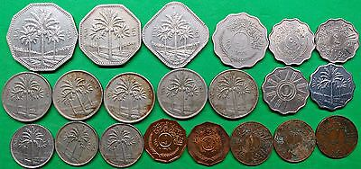 Lot of 21 Republic of Iraq Coins U-Date Vintage Arab Middle East   !!