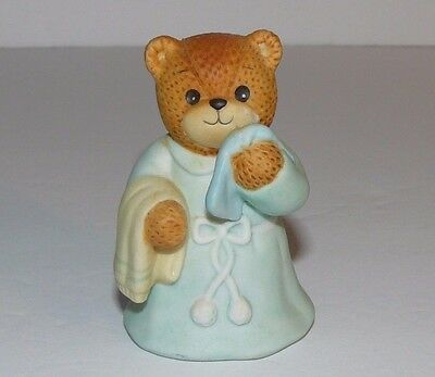 1986 Teddy Bear Girl Figurine Lucy Rigg Blue Pajamas Robe BathTowel Enesco 2.5""