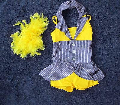 Curtain Call NEW Costume GRAY YELLOW SPARKLES LEOTARD BIKETARD CHILD XS CXS