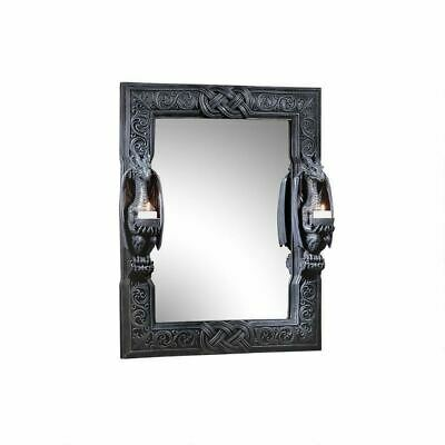 """Dragons Thorne Twin Sentinel Dragons Mirror 24"""" Wall Mirror By Liam Manchester"""