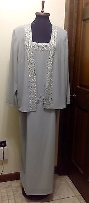 Mother Of Bride Dress Beaded Sage Green 2 Pc Sleeveless Dress & Jacket 16W