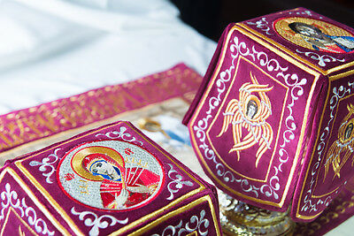 Chalice Covers  veils  Embroidered Burgundy color, with the icon of Holy Lamb