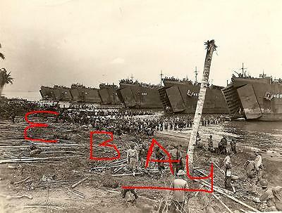Wwii Photo 8X10 Photo Uscg Lst's Landing At Leyte Gulf Philippines Lsts 245,202