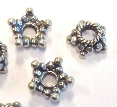 6 x Large Hole 5 Point Star Sterling Silver Spacer Beads / Bead Caps (206)