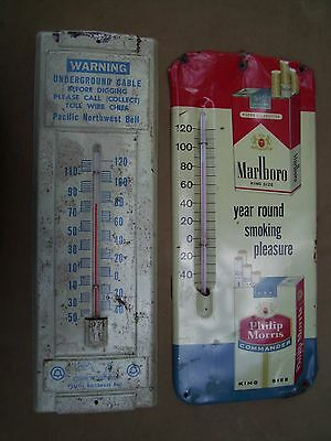 "2 Vintage 14"" Long Thermometers - 1 Marlbord & 1 Pacific Nw Bell - Both Working"