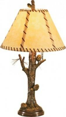 Rustic Table Lamp Pine Cone Accent Lodge Cabin Design Aged Finish Rawhide Shade