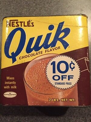 Vintage 1950s Quik Chocolate 2 Lb Container Of Cocoa Empty