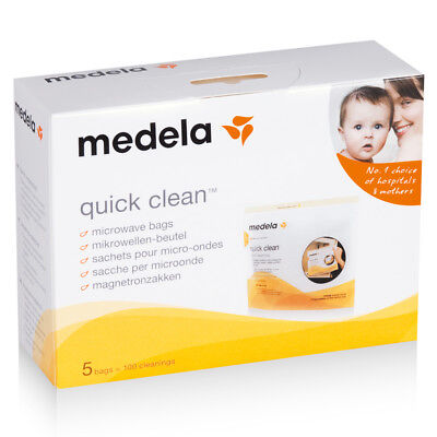 Medela Quick Clean Microwave Bags 5Pk Eliminates 99% Bacteria Germs