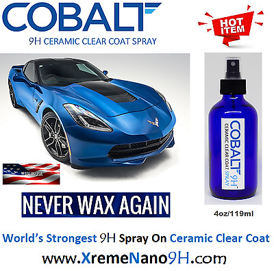 """COBALT 9H AUTO CERAMIC CLEAR COAT """"WET LOOK""""  SPRAY ON - 4 oz/119ml  MADE IN USA"""