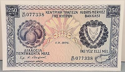 Central Bank of Cyprus. 250 Mils, 1 August, 1976. Pick#41b.