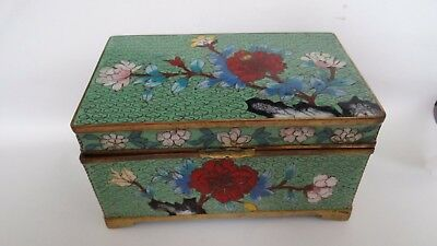 Fine Antique Vintage Chinese Cloisonne Box With Flowers Design