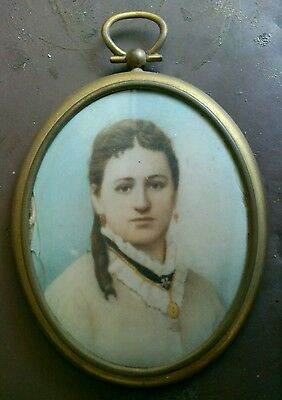 Victorian Brass Framed Oval  Painting Of Young Lady