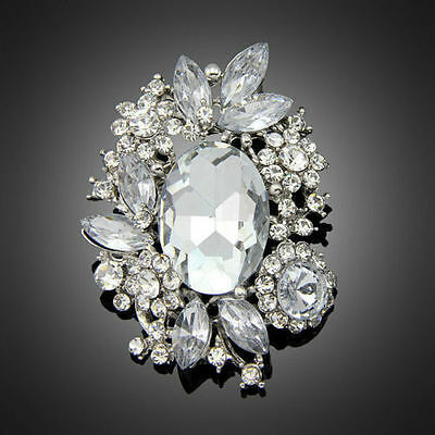 Gorgeous Silver Plated Clear Crystal Vintage Inspired Statement Brooch