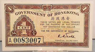 Hong Kong, W.W.2, Hong Kong Government Issued .01 Cent Note, Uncirculated P-313b