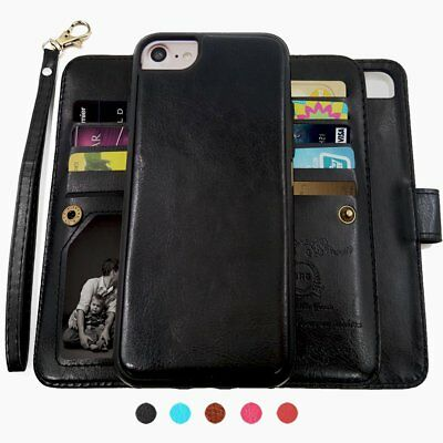 Detachable Magnetic Wallet Flip Case 9 Card Slot Removable Cover for iPhone 7 6