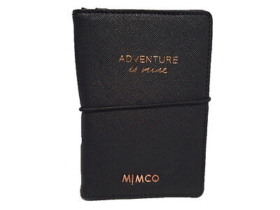 Mimco classico black with rose gold markings passport holder