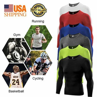 Men's Compression Under Base Layer Tops Tight Body Armour Long Sleeve T-Shirts