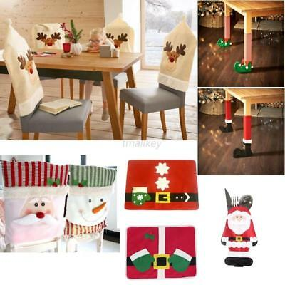 Christmas Chair Cover Ornaments Snowman Holiday Party Home Decor Santa Xmas New