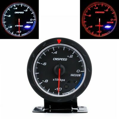 "2.5"" 60MM Car Vacuum Gauge -1~0 Vacuum Meter Black Face with Red & White Light"