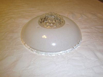 Antique ceiling light fixture glass shade white with bubble center 3 hole mount