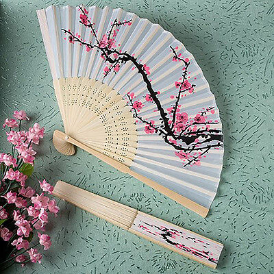 Unqiue Chinese Folding Hand Fan Japanese Cherry Blossom Design Silk Costume WA