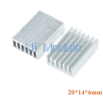 20Pcs Color Slivery 20X14x6mm Mini Aluminum Heat Sink Heatsink Diy New Develop