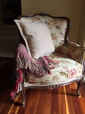 Matching Pair of Antique Floral Armchair, reproduction Louis XV