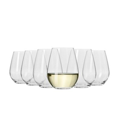 New Krosno Vinoteca Stemless White Wine Glass 400ml Set of 6 Gift Boxed