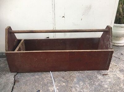Vintage Retro Wooden Large Took Box With Handle Carry Carpenters