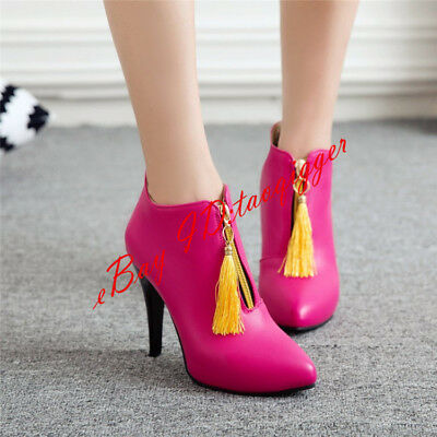 6a7e37de33cb Women High Heels Pointed Toe Fringe Slip On Zipper Brushed Ankle Boots  Winter 17