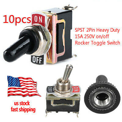 10pc Toggle Switch Heavy Duty 20A 125V SPST 2Terminal ON/OFF Waterproof Boot ATV