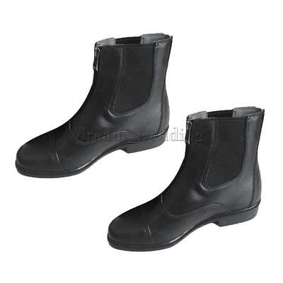1 Pair Jodhpur Boots Paddock Boots Zip Front Leather Black